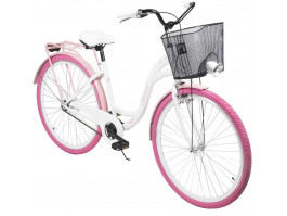 "Dviratis AZIMUT City Lux 28"" 2021 with basket white-pink"