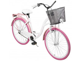 "Dviratis AZIMUT City Lux 26"" 2021 with basket white-pink"