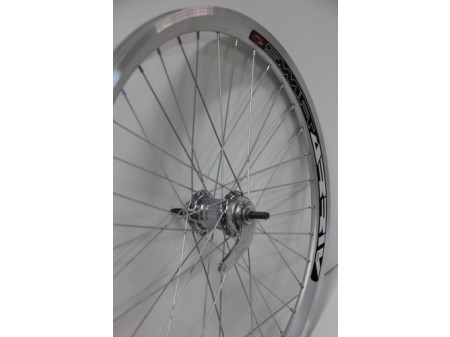 "Galinis ratas 24"" Velosteel single speed įvorė, DoubleWall silver ratlankis 30mm"